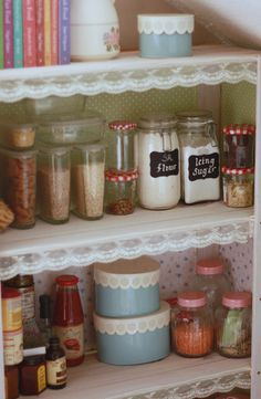 diff wallpaper on every shelf & vintage lace pantry shelves by sara stargirl