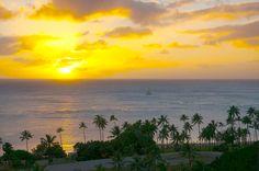 Sunset over the Pacific Ocean as seen from Trump International Hotel Waikiki Beach Walk