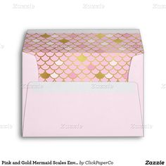Pink and Gold Mermaid Scales Envelope