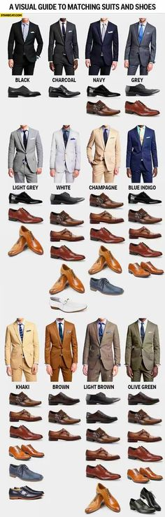 A visual guide to matching suits and shoes colors for men infographic