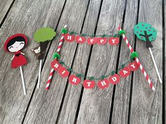 Little Red Riding Hood Set of Cake Bunting + Cake Topper. Little Red Cap. Red Riding Hood. By My Tulip, Handmade Scrapbooking Party Supplies. Add a special touch to your Birthday party with this Little Red Riding Hood Set of Cake Bunting + Cake Topper. The banner reads HAPPY BIRTHDAY. You
