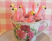 Pink Flamingoes Cupcake Toppers