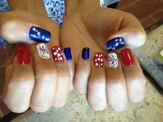 4th of July nails - Natural Nails - Gelish Polish (red, white, blue), star rhinestone embelishment, firework design- glitter and gelish polish - By Jade Phuong's Nail Artist Team at Blackhawk Nail and Spa