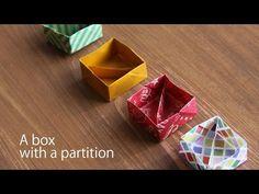 仕切りのある箱の折り方・折り紙1枚・【Origami Tutorial】How to make an origami box with a partition. - YouTube