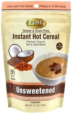 @WMPaleoMarket Unsweetened Hot Cereal:  Just add hot water and wait 3 minutes, it's that quick and easy! Perfect as it is, or you can also add fresh fruit, butter/ghee or any of your favorite hot cereal additions. A delicious and healthy alternative to oatmeal or any other grain-based, gluten containing hot cereal out there. The packaging is sturdy and resealable to keep the product fresh.