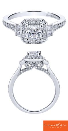 Gabriel & Co. - An gorgeous 14k White Gold Diamond Halo Engagement Ring.
