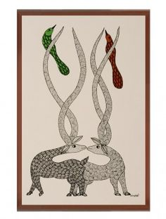 Multi-Color Framed Gond Wall Art 14.2in x 10in