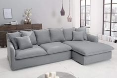love the colour and style of this couch, i want one really cloud like Corner Sofa Living Room, Grey Corner Sofa, Living Room Decor, Sofa Design, Home Interior Design, Interior Architecture, Summer House Interiors, Sofa Couch, Angles