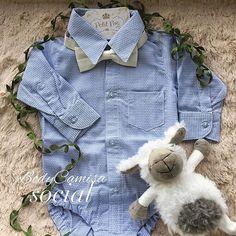 Body com camisa social texturizada azul bebê!!! Lindíssima para passear com a vov