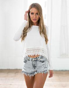 Stylish Fashion Autumn Women Casual Long Sleeve Lace Flower Hem O-neck Top Blouse_Tees / T-shirt_Women_Women's Fashion Zone & Best Price Clothes