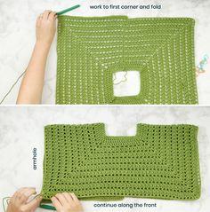 Easy Pullover Sweater Free Crochet Pattern Sewrella - Pullovers Sweater - Ideas of Pullovers Sweater Crochet Bodycon Dresses, Black Crochet Dress, Crochet Blouse, Crochet Shawl, Free Crochet, Crochet Stitches, Knit Crochet, Crochet Baby, Crochet Sweaters