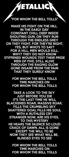 for-whom-the-bell-tolls Lyrics - Metallica