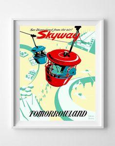 Vintage Disneyland Poster Print Skyway Disney by InkistPrints