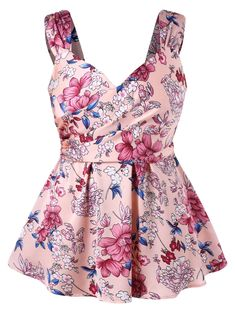 Floral Print Sweetheart Neck Plus Size Tank Top Plus Size Womens Clothing, Plus Size Outfits, Clothes For Women, Curvy Fashion, Plus Size Fashion, Women's Fashion, Floral Tops, Floral Prints, Cheap Tank Tops