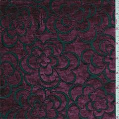 Burgundy and black burnoutfloral design. This soft, lightweight polyester fabric has a beautiful sheen and slight stretch.Compare to $12.00/yd