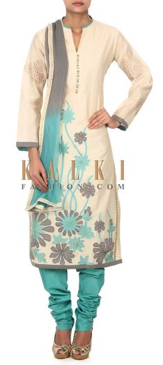 Buy this Cream straight suit adorn in applique embroidery only on Kalki