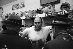 Green Bay Packers defensive tackle Henry Jordan talks to reporters in the locker room after the NFL championship game at Lambeau Field on Jan. 2, 1966. The Packers defeated the Cleveland Browns 23-12. Press-Gazette archives
