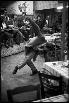 Zeibekiko dancer in a café. Piraeus, Greece 1953 by Henri Cartier-Bresson Magnum Photos, Candid Photography, Street Photography, Urban Photography, Color Photography, Vignette Photography, Henri Cartier Bresson Photos, Walker Evans, Robert Doisneau