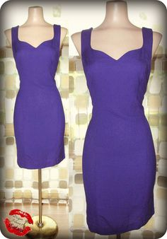 Vintage 80s Sexy PURPLE Linen Sweetheart Mini Dress Sz. 8 Body Con WIGGLE 1980 by IntrigueU4Ever, $49.99