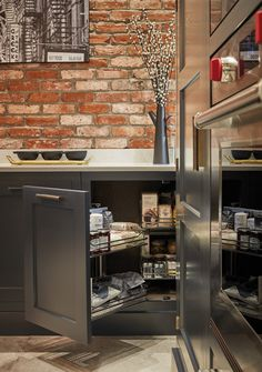 Pull out kitchen cupboard storage - Tom Howley Exposed Brick Kitchen Home Decor Kitchen, Kitchen Furniture, Kitchen Dining, Kitchen Ideas, Kitchen Designs, Grey Cupboards, Kitchen Cupboards, Luxury Kitchens, Home Kitchens