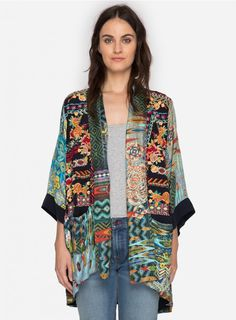 Koben Canvas Embroidered Kimono A true statement piece. Details & Care —Silk Twill —Drape Front —Tie at waist —Custom embroidery —Slash pockets at hip —Care instructions: Machine wash co Look Kimono, Kimono Jacket, Kimono Fashion, Boho Fashion, Boho Outfits, Fashion Outfits, Johnny Was Clothing, Traditional Kimono, Embroidered Clothes