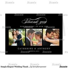 Simply Elegant Wedding Thank You Card - Black