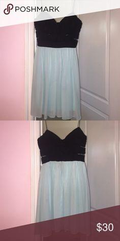 Black & Blue Dress Black top w/cut outs & Blue flowy bottom; spaghetti straps Hailey Logan Dresses Midi