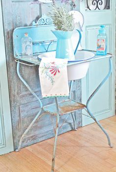 French Blue Washstand - Vintage Flea Market Find!