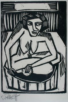 Frau in der Wanne - Karl  Schmidt-Rottluff - Galerie Donohue, you can see more at: http://archesart.co.uk/Works/viewPrint/NzQ0OA==