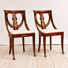 Pair Of French Empire Gondola Side Chairs In Mahogany,