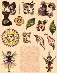 Art Deco and victorian women with leaf wings art doll collage face rubber stamps. Spiral swirl background pattern rubber stamp for aceo atc artist trading cards. Kunst Inspo, Art Inspo, Alphonse Mucha, Art And Illustration, Face Collage, Klimt, Aesthetic Art, Art Nouveau, Art Deco