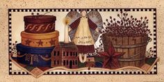 Linda Spivey Wall Art and Prints Primitive Painting, Primitive Folk Art, Country Primitive, Primitive Decor, Primitive Labels, Primitive Pictures, Framed Art, Wall Art, Painted Jars