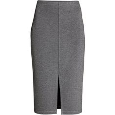Jersey Pencil Skirt $17.99 ($13) ❤ liked on Polyvore featuring skirts, elastic skirt, jersey pencil skirt, knee length skirts, dark grey pencil skirt and front slit skirt