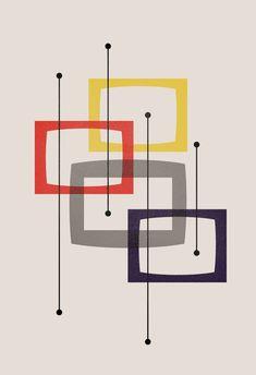 Mid-Century Modern Minimalist Geometric Art Print of Abstract Shapes, Scandinavian Print, Modernist Design, Eames Style Design, Wall Art Mid Century Art, Mid Century Modern Design, Retro Design, Design Art, Modern Minimalist, Mid-century Modern, Eames, Cuadros Diy, Abstract Shapes