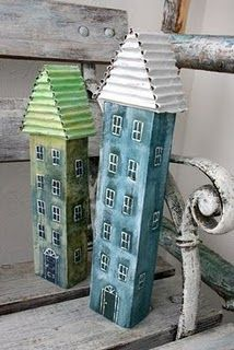 Houses made from piece of wood. I used to make doorstops shaped like houses from… – Modern Design - Modern Clay Houses, Ceramic Houses, Paper Houses, Miniature Houses, Bird Houses, Wooden Houses, Home Crafts, Diy And Crafts, Wood Projects