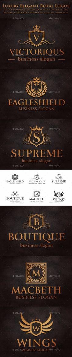 Buy Luxury Elegant Royal Logos by djjeep on GraphicRiver. Luxurious Heraldic Crest Logos – Retro Vintage Royal Luxury Elegant crests and emblems. Royal Heraldic Elegant Logo C. Logo Inspiration, Royal Logo, Luxury Logo, Badge Logo, Jewelry Logo, Clothing Logo, Retro Logos, Premium Logo, Layout