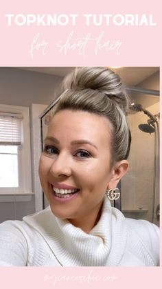 """The infamous bun or top-knot is a go-to lazy hair style for those with longer hair. It's a fun way to throw your hair up and still feel put together. Before I am diagnosed with breast cancer I loved wearing my hair in a topknot or at the time what was popularly called the """"sock bun"""". Top knot tutorial Short Hair Top Knot, Short Hair Cuts, Short Hair Styles, Cut My Hair, Your Hair, Half Top Knot, Clear Hair, Lazy Hairstyles, Alternative Hair"""