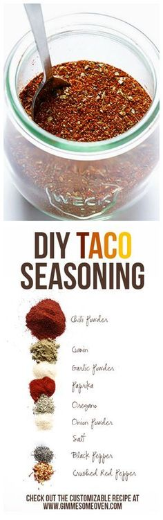 Taco Seasoning Homemade Taco Seasoning ~ So easy to whip up yourself, and you can make it preservative-free!Homemade Taco Seasoning ~ So easy to whip up yourself, and you can make it preservative-free! Diy Taco Seasoning, Seasoning Mixes, Homemade Spices, Homemade Seasonings, Do It Yourself Food, Food Porn, Comida Latina, Homemade Tacos, Spice Mixes