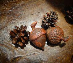 Beautiful cast metal acorns and pine cones