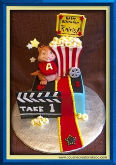 Alvin the Chipmunk Movie Theater Cake Cousin's Creations Birthday Cakes for Guys - Cousin's Creations