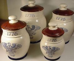1776 Eagle Provincial by Metlox. I got a small one of these and a mug for my Dad (retired Army). The canister holds candy on his desk at work. I love this pattern and would like a full dinning set to use on the 4th of July.