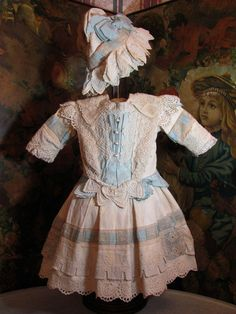 """Bebe Dress for 27""""-28"""" French or German Doll w/matching Bonnet_"""