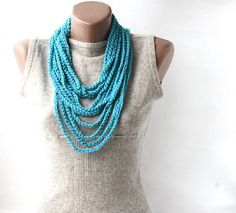Infinity scarf necklace blue crochet loop spring summer fashion vegan    I crocheted this infinity scarf necklace with100 % acrylic yarn.    This