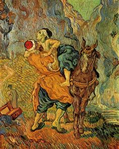 The Good Samaritan, after Delacroix - Vincent van Gogh - Completion Date: 1890 - Place of Creation: Auvers-sur-oise, France - Gallery: Rijksmuseum Kröller-Müller, Otterlo, Netherlands