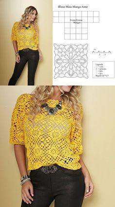 ◇◆◇ Luty Artes Crochet. Blusa Maia