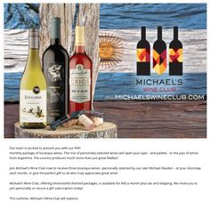 Our team is excited to present you with our fifth monthly package of boutique wines. This trio of personally-selected wines will open your eyes - and palette - to the joys of wines from Argentina. The country produces much more than just great Malbec!  Join Michael's Wine Club now to receive three boutique wines –personally selected by our own Michael Klauber – at your doorstep each month, or give the perfect gift to all who truly appreciate great wine!
