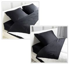 Ikea Bed Sheet Set DVALA Black, 100% Cotton Twin and Queen Fitted Sheet Set New #IKEA #Modern