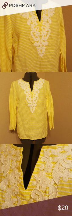 Talbots Linen yellow striped bead detail Great summer top Talbots Tops Tunics