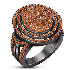 10k Black Rhodium Finish 925 Silver Orange Sapphire Engagement Unisex Band Ring
