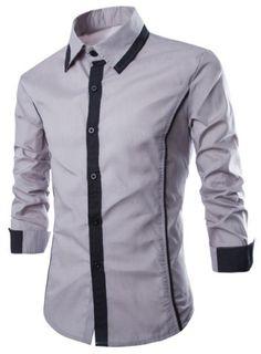 Fashion Shirt Collar Slimming Color Block Fake Tie Design Long Sleeve Polyester Shirt For Men